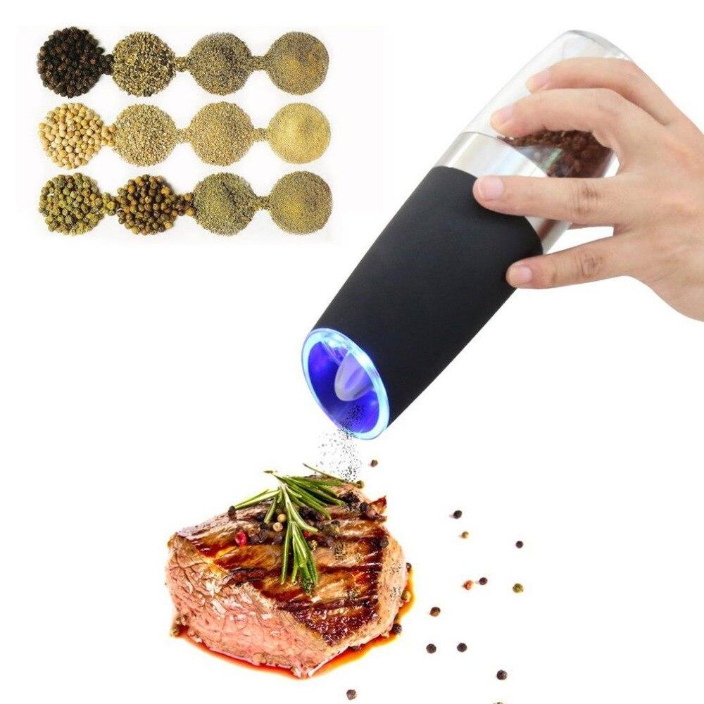 Elettrico Gravità Pepe Grinder con Luce LED Automatico Salt Mill Muller Alimentato A Batteria Da Cucina Condimento Strumento di Macinazione