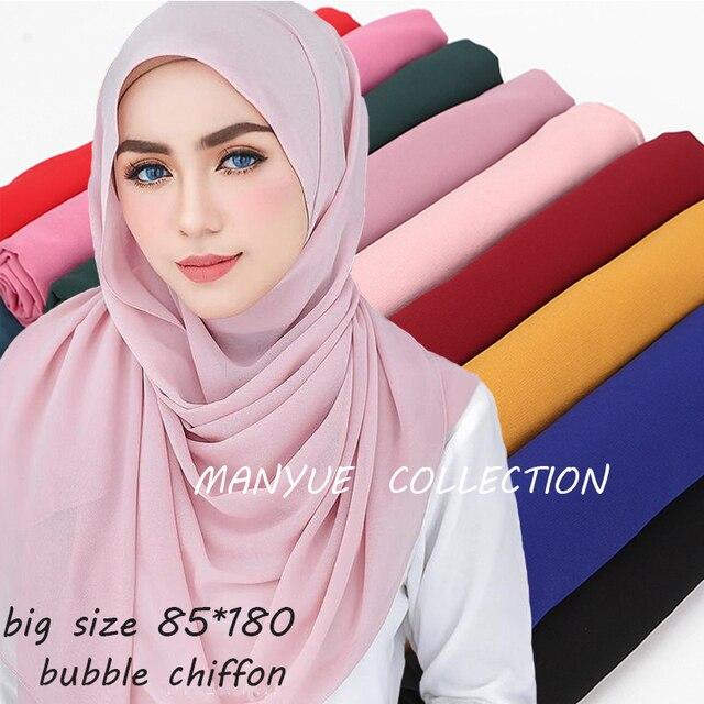 85*180 Cm Big Size Plain Bubble Chiffon Sjaal Vrouwen Hijab Moslim Sjaals Solid Lange Grote Hoofd Wraps Dames georgette Sjaals