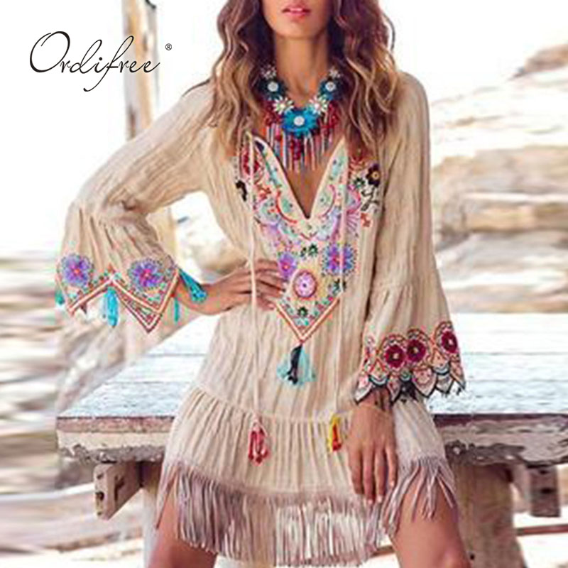 Ordifree 2020 Summer Boho Women Embroidery Floral <font><b>Dress</b></font> Long Sleeve Vintage Flower Loose <font><b>Sexy</b></font> <font><b>Mini</b></font> Tunic <font><b>Dress</b></font> image