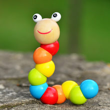 2019 New Kids Cute Insert Puzzle Educational Wooden Toys Baby Children Fingers Flexible Training Science Twisting Worm Toy(China)
