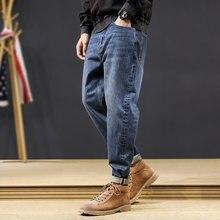 Модные уличные мужские джинсы свободные широкие брюки ретро