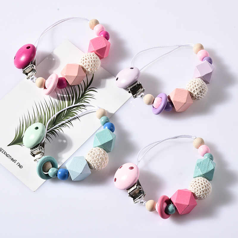 DIY Colorfull Bayi Kayu Dot Klip Lucu Dot Rantai untuk Makanan Bayi Berjalan Tumbuh Gigi Mengunyah Mainan Boneka Klip Bpa Gratis
