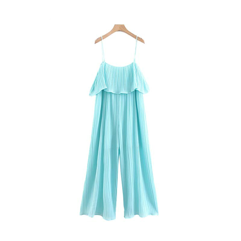 Women Casual Chiffon Solid Pleated Jumpsuits Ruffles Sleeveless Backless Rompers Female Stylish Playsuits KA799