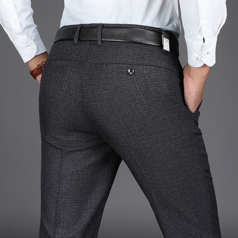 Middle-aged High-waisted Elasticity Casual Pants Autumn And Winter Thick Section Men Business Casual Trousers Daddy Clothes Loos