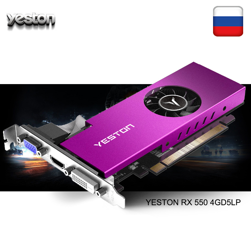 Yeston Radeon mini RX 550 <font><b>GPU</b></font> <font><b>4GB</b></font> GDDR5 128bit Gaming Desktop computer PC Video Graphics Cards support VGA/DVI-D/HDMI PCI-E 3.0 image