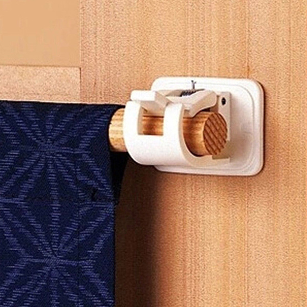 2 Pcs Shower Curtain Hanging Rod End Fixing Holder Clip Rack Hook for Home Bathroom
