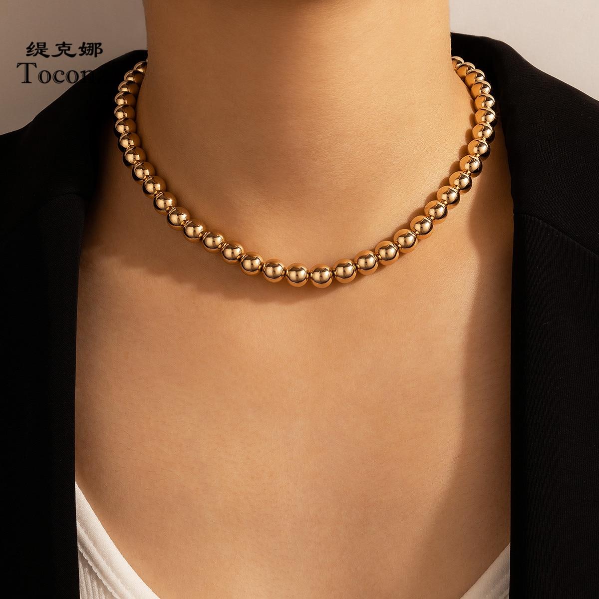 Tocona bohemain ouro cor grânulo corrente gargantilha neckalce para feminino charme liga metal festa jóias acessórios colar 16956