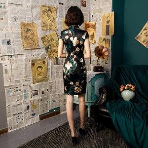 Image 2 - مدين خمر الأسود شيونغسام اللباس امرأة التقليدية الصينية فساتين الكلاسيكية المائل الشق زي الصيف حزب Vestido