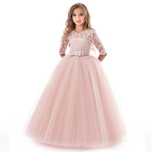 Girls Lace Half Sleeve Dress Kid Girls First Communion Dresses Tulle Lace Wedding Princess Costume for Junior Children Clothes a line halloween costume for girls lace roupas infantis menina suitable first communion dresses for mother daughter dresses