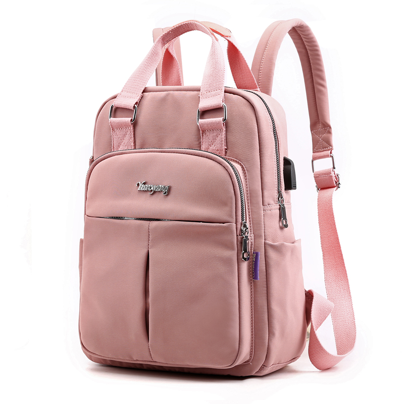 2019 Causal Women Laptop Backpack USB Charge School Bag For Teenager Girls Large Capacity Travel Female Bagpack Solid Back Pack