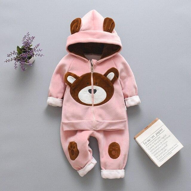 Bebek Infantial küçük kız erkek giyim seti kapşonlu kış 2019 çocuk çocuk giysileri sıcak polar siyah kıyafetler için 2 3 4 yıl