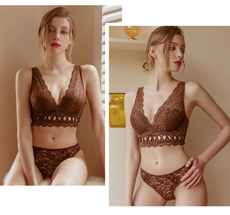 CINOON New Top High Quality Bra Set Gather Bras Deep V Brassiere Women Lingerie Set Lace Embroidery Push up Bra Panties Sets (7)