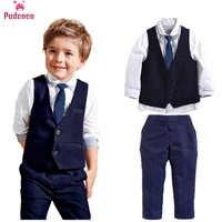 3pcs Kid Baby Boy Clothes Set Gentleman Boy Formal Suit Vest Tops Shirt Long Pants Clothing Sets Blazers Outfits