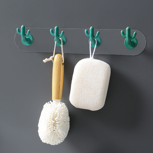 Cactus Hook Nordic Style Creative Seamless Hook Wall Decoration Wall Hanging Free Punch Bathroom Hook