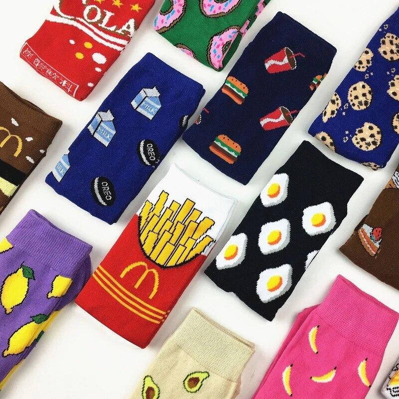 Красочные женские носки, летние хлопковые носки, носки в стиле Харадзюку с фруктами, бананами, авокадо, лимоном, яйцом, печеньем, пончиками, едой, Счастливого цвета