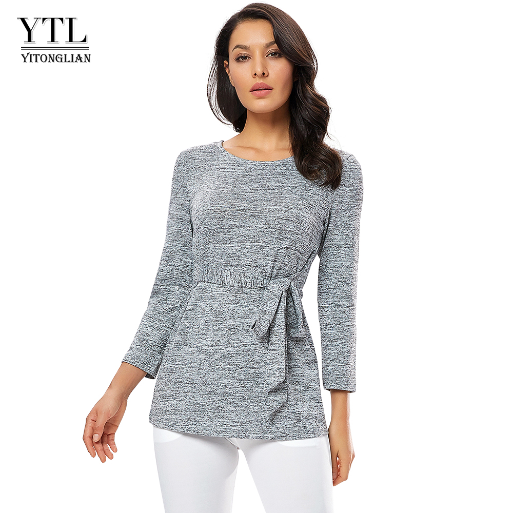 Yitonglian Women Blouse Grey Tunic Shirts Round Neck Winter Casual Blouses 3/4 Sleeves Ladies Jumper Female Blusa H311