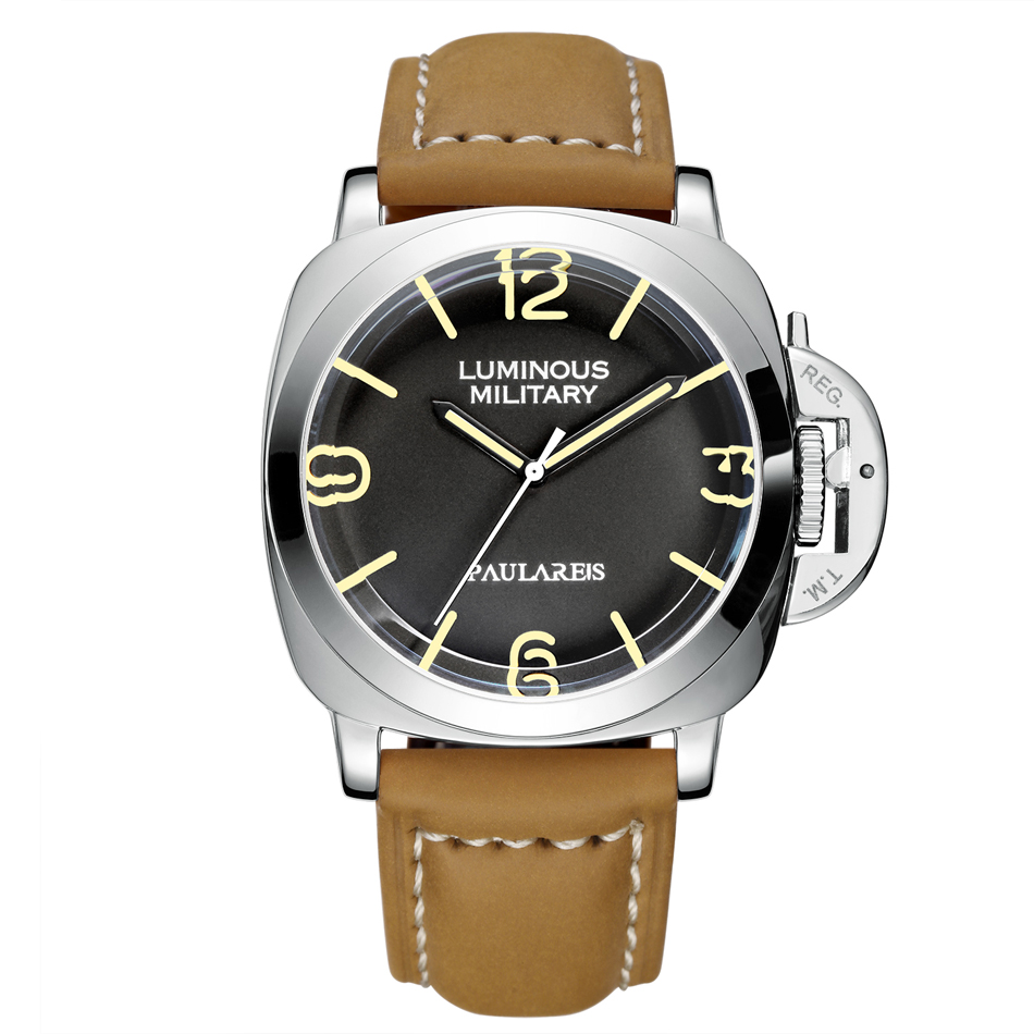 Automatic Self Wind Mechanical Genuine Brown Leather Strap Yellow Green Luminous 44mm Luxury Rose Gold Military Men Watch