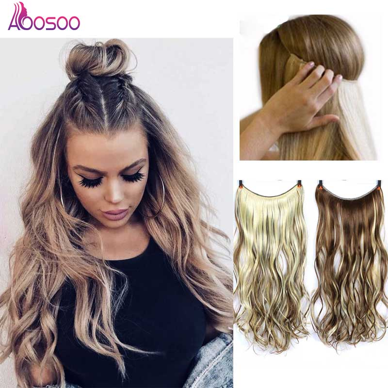 AOOSOO 24INCH Nvisible Wire No Clip One Piece Halo Hair Extensions Secret Fish Line Hairpieces Wave Straight Synthetic
