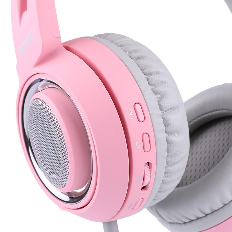 Cabeza montada 7,1 canal ancla gameing gato oreja auricular Rosa Lindo juego auriculares - 5