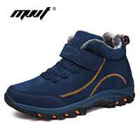 Waterproof Winter Men Boots with Fur Warm Snow Women Boots Men Winter Work Casual Shoes Sneakers High Top Rubber Ankle Boots plus size