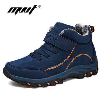 цена Waterproof Winter Men Boots with Fur Warm Snow Women Boots Men Winter Work Casual Shoes Sneakers High Top Rubber Ankle Boots plus size онлайн в 2017 году