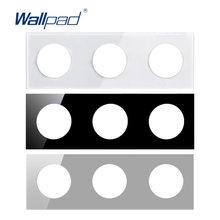 Wallpad-Panel de vidrio templado Triple, solo 258x86mm, círculo redondo blanco y negro