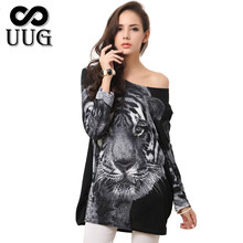 UUG Women Leopard Dresses Autumn Vestidos Lady Tiger Print Dress Mini Big Large Size Cashmere Casual Clothing Warm Clothes(China)