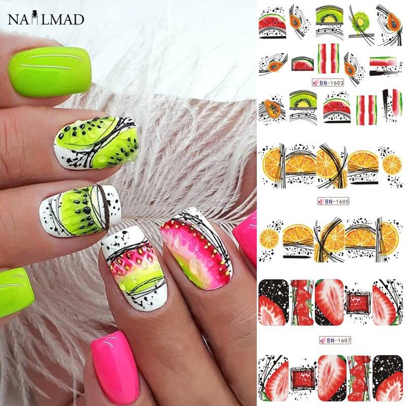 12pcs Summer Fruit Water Decals Watermelon/kiwi/banana/lemon/ Strawberry Designs Nail Stickers Wraps Slider Decoration 2020