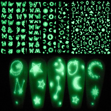 2021 New 3D Luminous Decals Nail Art Stickers Tattoo Nail Design Butterfly Star Moon Water Sliders Manicure Wraps Decorations