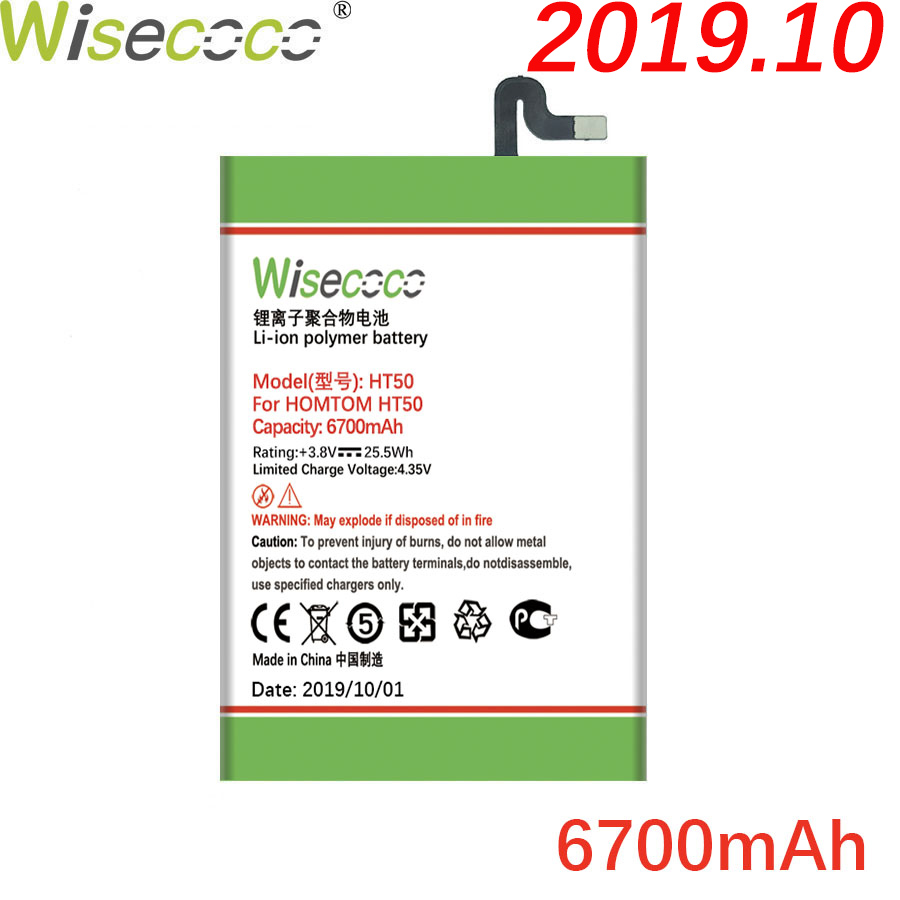 Wisecoco HT50 6700mAh Newly Produced Battery For HOMTOM HT50 HT 50 Battery Cell Phone Built-in Battery Replace +Tracking Number(China)