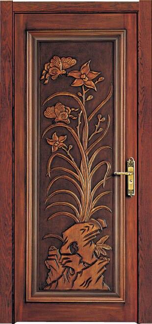 Luxury Carving Designs Thai Oak Interior Single Solid Wood Door B22