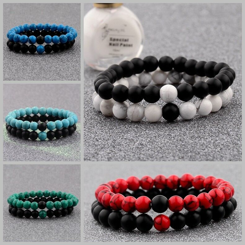 2 Distance Bracelets for Lovers Couples Matching Gift Matte Bead Stone