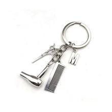 Letter Keyring Scissors Keychains Hair-Dryer Decorative Gift Essential Stylist Comb