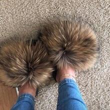 Женские меховые тапочки; женская обувь; Милые Плюшевые Пушистые сандалии с лисьим мехом; женские меховые тапочки; зимние теплые женские шлепанцы; Лидер продаж
