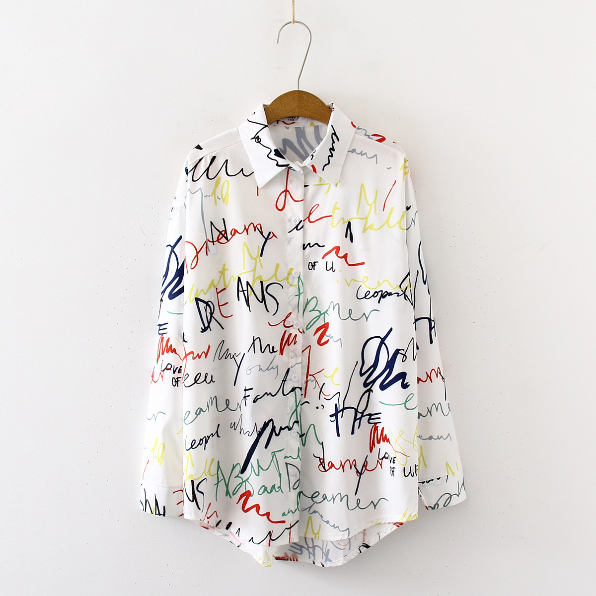2019 Autumn New Women Long Sleeve Letters Print Cotton Blouses Shirts Casual Loose Office Tops Shirts Blusas