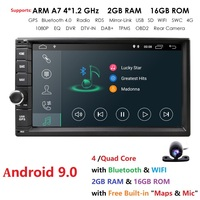 Quad Core Pure Android 9.0 Auto Radio Car NO DVD Player Car PC Tablet Double 2din 7'' GPS Navigation Head Unit Bluetooth SWC TV