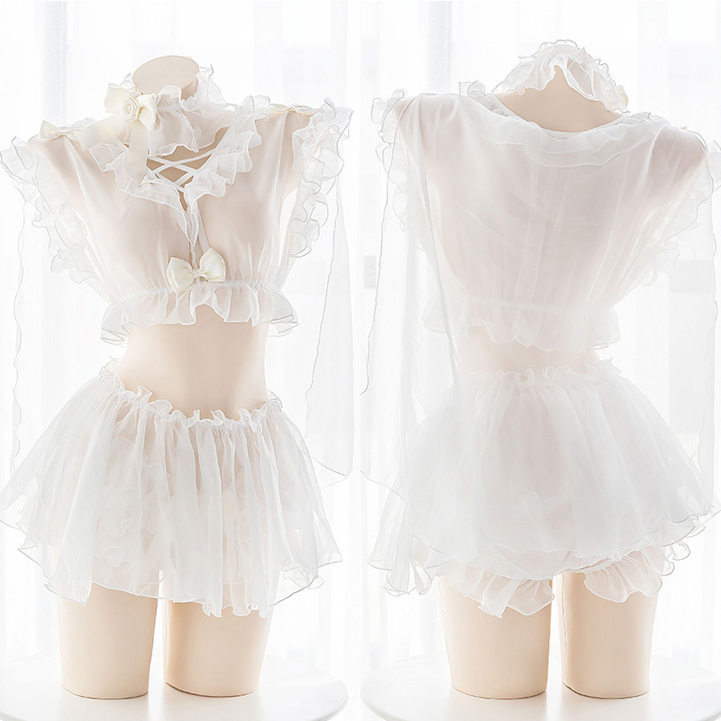 The Elven Maiden Cute Sexy Bow Lace Perspective Lingerie Set Cospaly Sweet Lolita White Ruffles Wedding Short Skirt Set