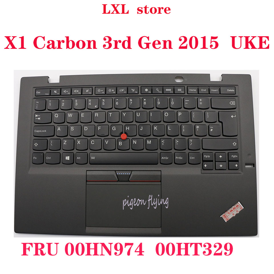 X1 Carbon 3rd Gen for 2015 Thinkpad laptop keyboard UKE English 20BS 20BT touchpad C-cover SN20G18594 FRU 00HN974 00HT329 NEW image