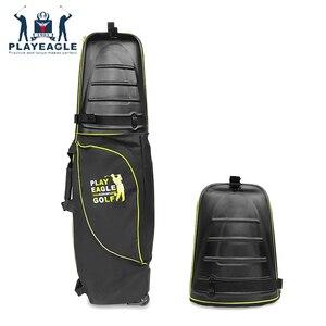 Image 1 - 골프 항공 가방 하드 탑 하단 바퀴 Shockproof 골프 여행 커버 가방 Protable 접는 골프 항공 가방 에어백 골프