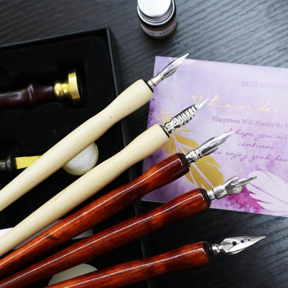 1/5Pcs Pen Nibs For Calligraphy Writing Cartoon Comic Drawing Dip Pen Wood Holder Supplies