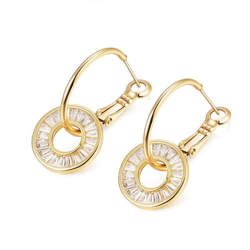 2020 New arrival gold color cubic zircon round hoop earrings for women statement jewelry christmas gift