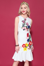Baogarret 2019 Fashion Runway Summer Dress Womens Sleeveless Beautiful Floral Print Beading Ruffles Casual White