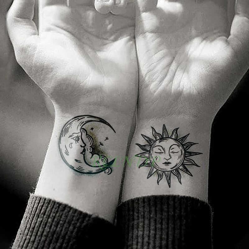 Su geçirmez geçici dövme etiket güneş ay sahte dövme flaş dövme Tatouage el ayak kol erkekler kadınlar için kız