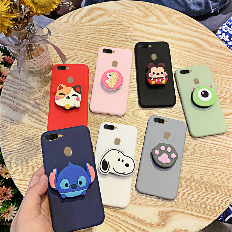 Silicone Cartoon Phone Holder Case For OPPO A5S A33 A37 A39 A59 A71 A73 A79 A3 A7 A9 A53 Girl Cute Stand Covers Protective