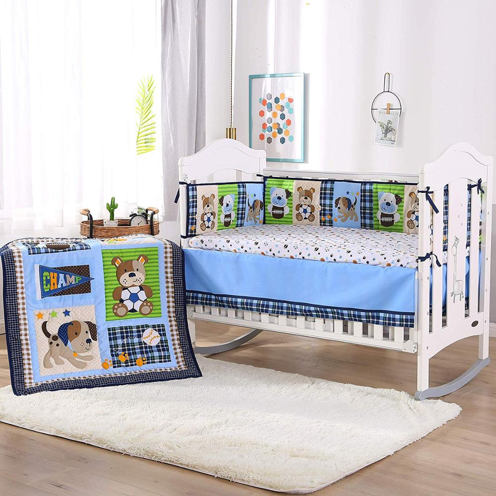 US $26.26 26% OFF26PCS embroidered baby bedding set whale Cot Crib Bedding  Set kit berco Infant baby nursery (26bumper+duvet+bed cover+bed skirt)kit