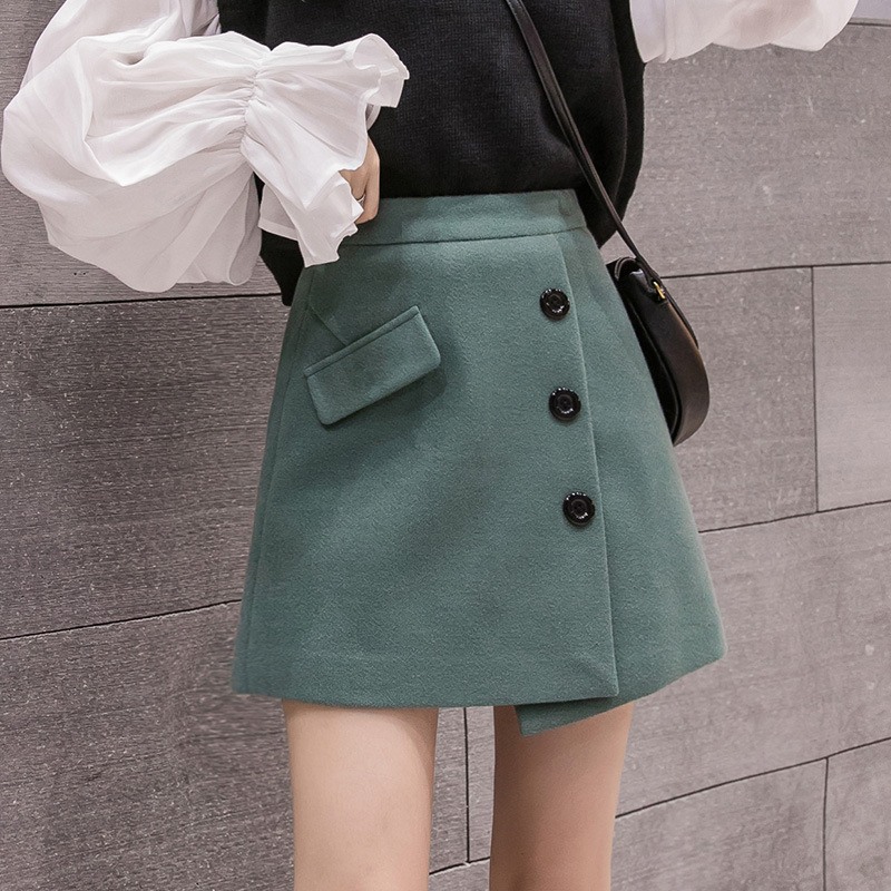 S-2xl Irregular Woolen A-line Black Skirt For Women 2019 Autumn Winter Warm Green Mini Skirts Womens High Waist Womens Skirts Female Falda Pantalon Mujer  Jupe Femme