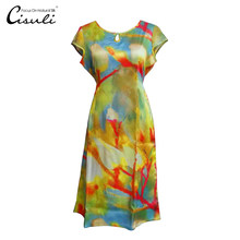CISULI 100% Silk Satin Dress Women Summer Printed Silk Dress Heavy Silk Pure Soie Satin Dresses Plus Size