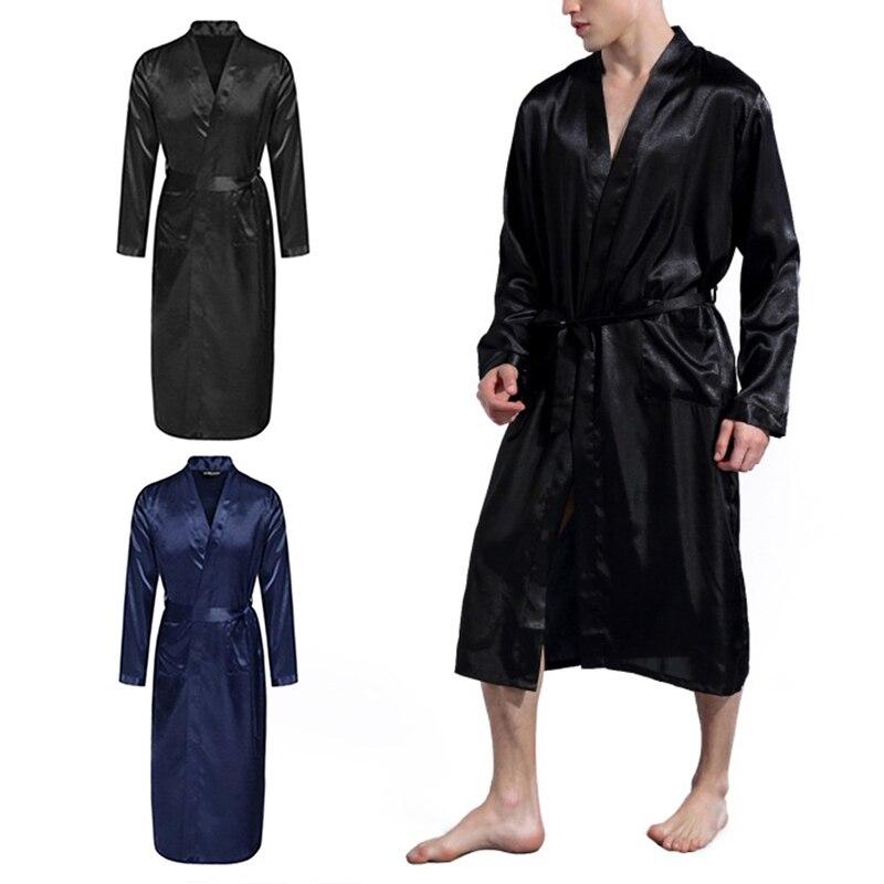 Bath Robe Men's Silk Satin Bathrobe  Long Solid V-neck Silk Pajamas  Nightgown Sleepwear Kimono Homme Dressing Gown