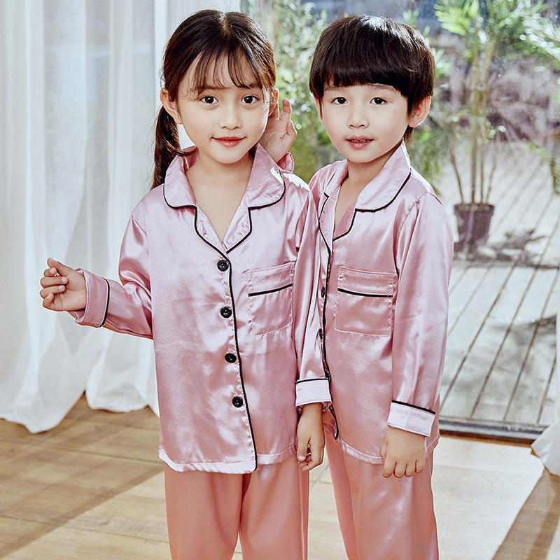 Girls Pajamas 2019 Autumn Winter Long Sleeve Children's Sleepwear Set Silk Pajamas Suit Boys Pyjamas Sets for Kids Tracksuit Set 5