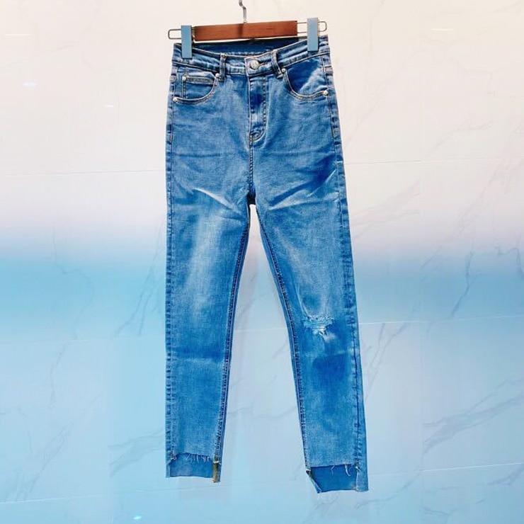 High-waist Skinny Women Jeans 2020 New Fashion Wild Hole Pencil Pants Lady Ankle-length Jeans